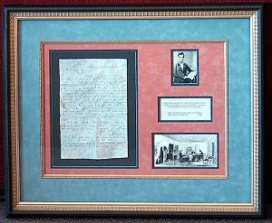 Custom matting and framing of historical documents.