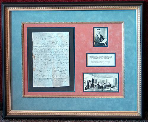 custom matting and framing of historical documents